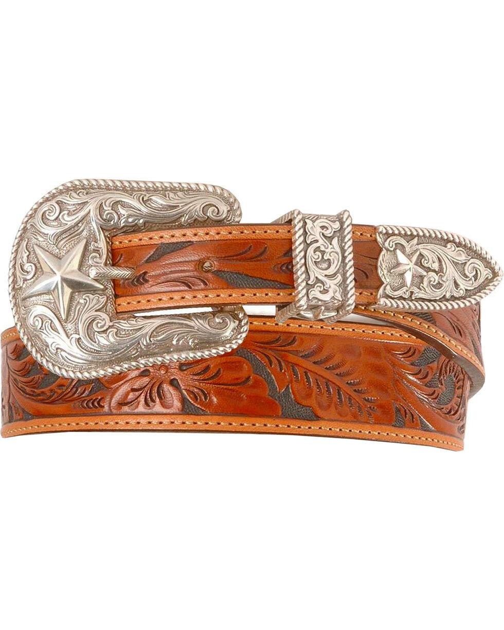 Justin Tooled Leather Belt - Reg & Big, Tan, hi-res