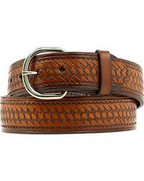 Nocona Basket Stamped Leather Belt - XL, , hi-res