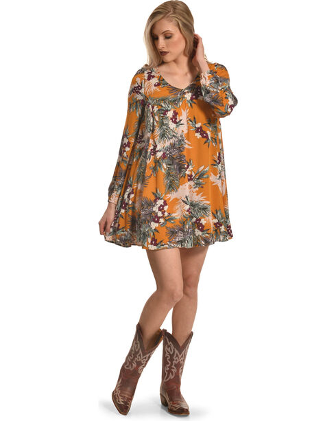 Onetheland Women's Marigold Floral Dress , Dark Yellow, hi-res