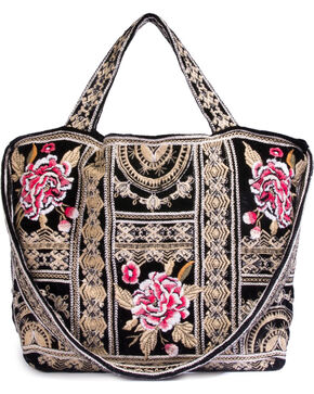 Johnny Was Women's Leith Velvet Tote Bag , Black, hi-res