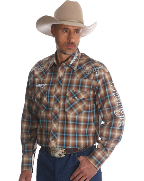 Wrangler Men's Plaid Logo Long Sleeve Shirt - Tall, Brown, hi-res