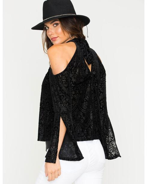 Vintage Havana Women's Black Groovy Velvet Blouse , Black, hi-res