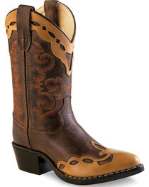 Old West Brown Overlay Childrens' Western Boots - Pointed Toe , , hi-res
