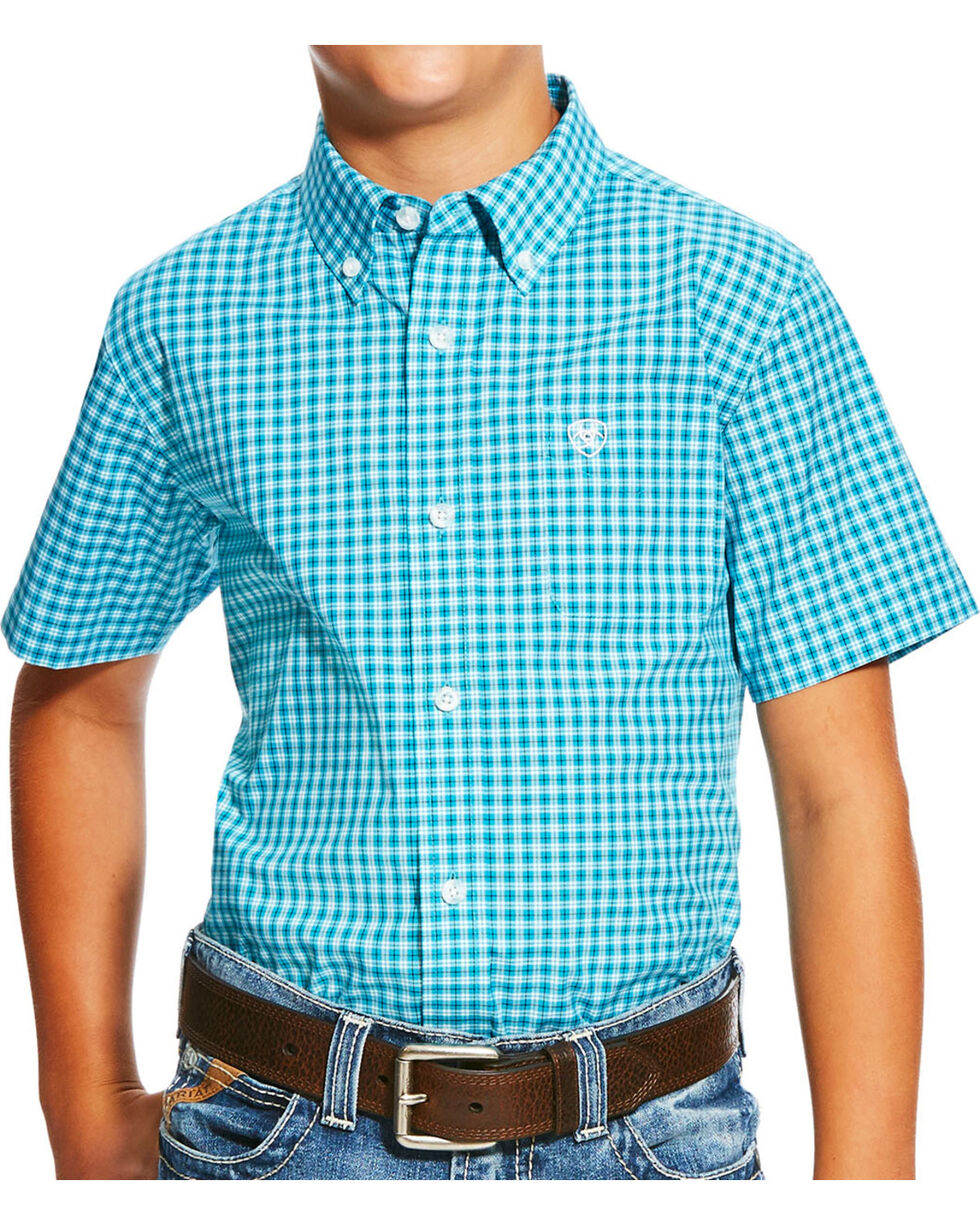 Ariat Boys' Blue Negan Print Short Sleeve Shirt , Blue, hi-res