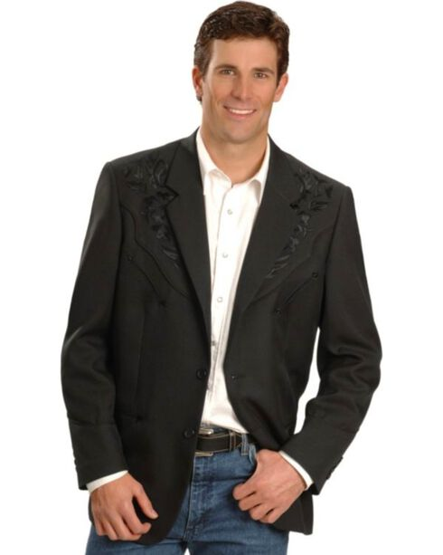Scully Men's Retro Floral Embroidered Sport Coat, Black, hi-res