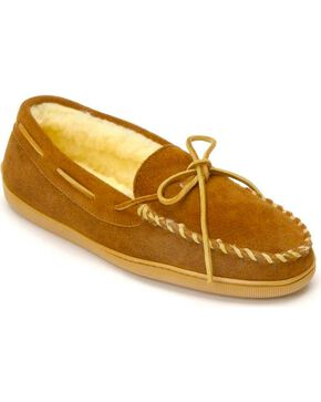 Minnetonka Pile Lined Hardsole Moccasins - Wide(7-13), Brown, hi-res