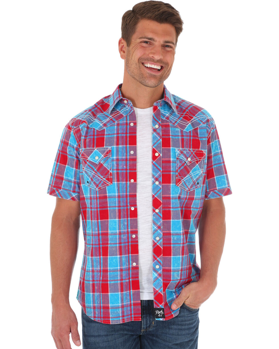 Wrangler Rock 47 Men's Red Checkered Western Shirt , Red, hi-res