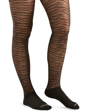 Bootights Women's Sahara Zebra Boot Tights, Jet, hi-res