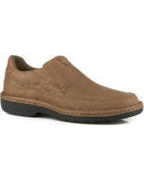 Roper Men's Brown Comfort Flex Buffalo Leather Shoes , , hi-res