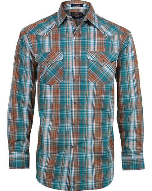 Pendleton Men's Plaid Long Sleeve Western Shirt, Turquoise, hi-res