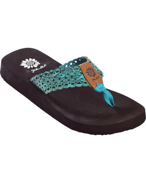 Yellow Box Women's Wally Turquoise Laser Cut Sandals, Turquoise, hi-res