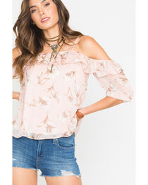 Blush Noir Women's Light Pink Floral Print Ruffle Top, , hi-res