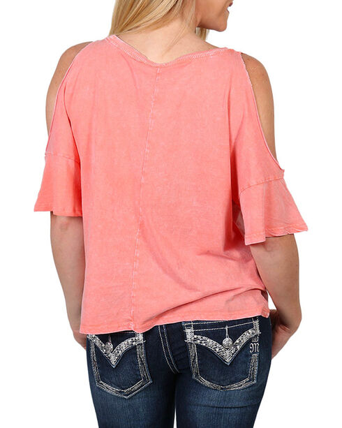 Others Follow Women's Cold Shoulder Tie Front T-Shirt , Coral, hi-res