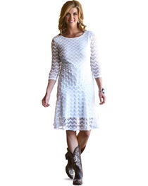 Wrangler Women's Three Quarter Sleeve Lace Dress, , hi-res