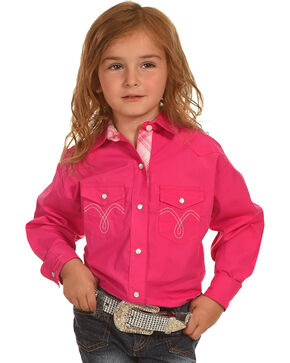 Panhandle Girls' Solid Two Pocket Long Sleeve Shirt , Pink, hi-res