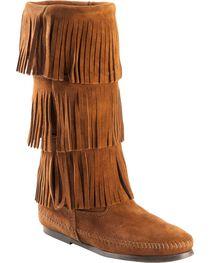 Minnetonka Women's Three Layer Fringe Boots, Brown, hi-res