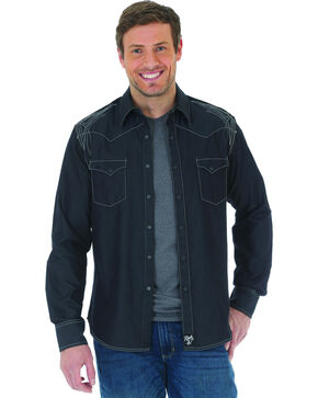 Wrangler Rock 47 Men's Black Embroidered Long Sleeve Snap Shirt, Black, hi-res
