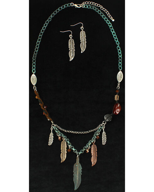 Blazin Roxx Feather Beaded Necklace & Earrings Set, Silver, hi-res