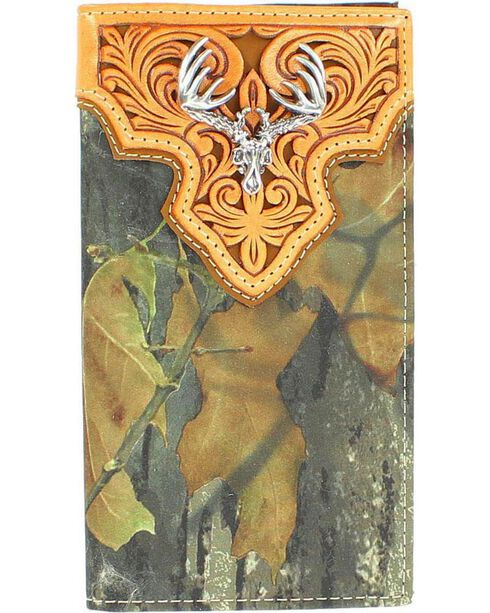 Nocona Men's Mossy Oak Rodeo Buck Skull Wallet, Camouflage, hi-res