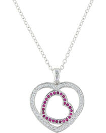Montana Silversmiths Women's Love's First Blush Heart Necklace , , hi-res