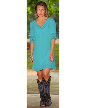 Rock 47 by Wrangler Women's Crochet Detail Dress, Turquoise, hi-res