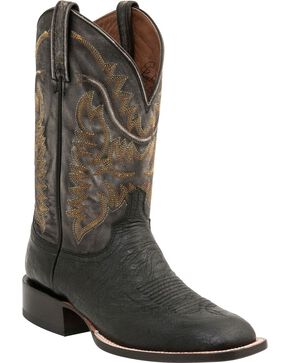 "Lucchese Men's 13"" Burt Square Toe Ostrich Western Boots, Black, hi-res"