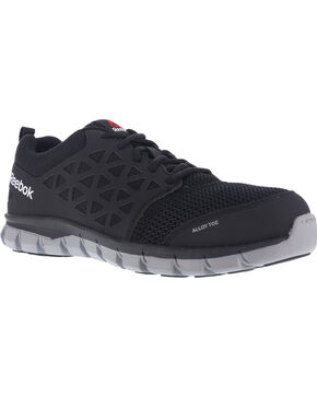 Reebok Men's Mesh Athletic Oxfords - Alloy Toe, Black, hi-res