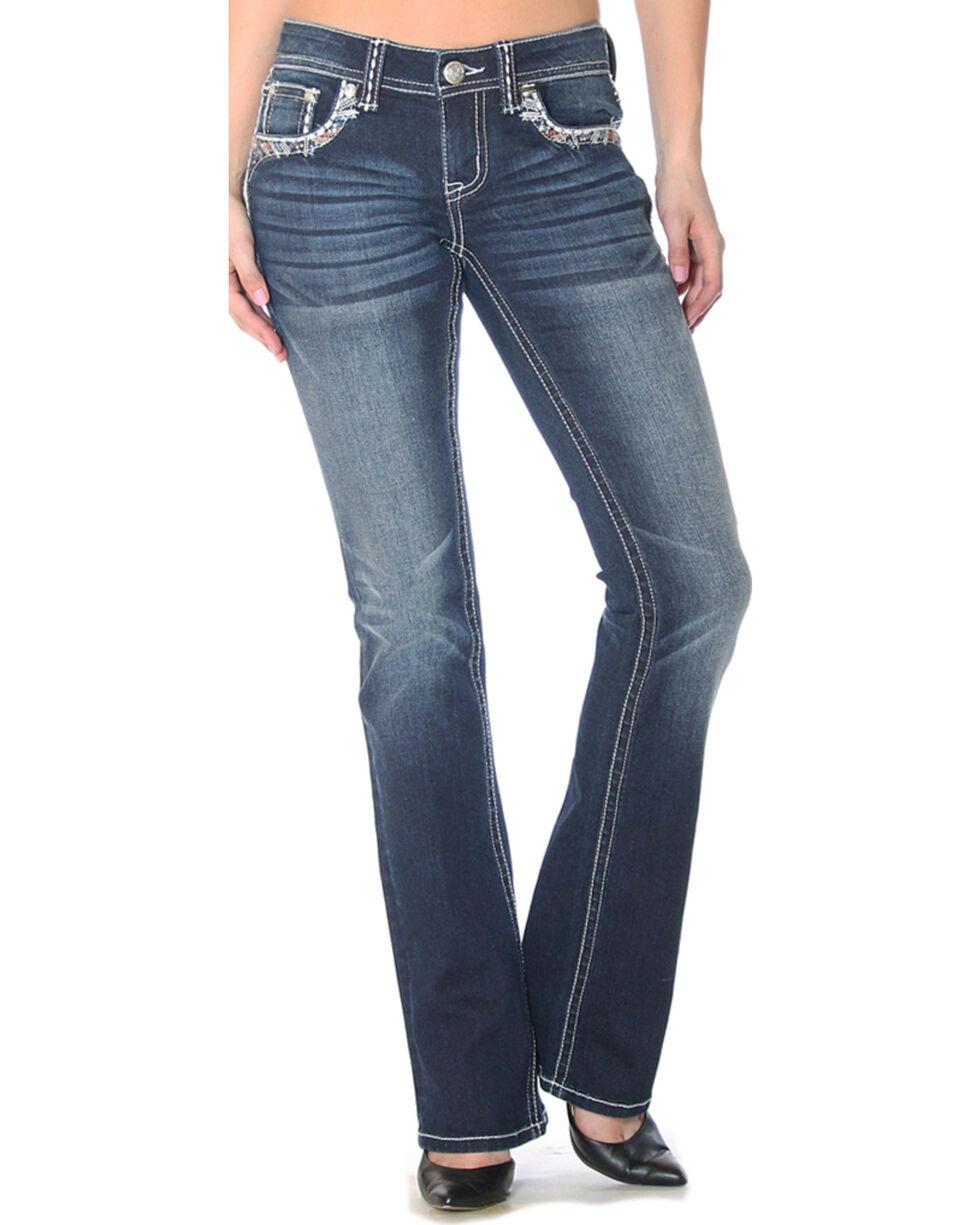 Grace in LA Women's Embellished Flap Pockets Jeans - Boot Cut , , hi-res