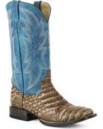 Roper Men's Blue Shaft Alligator Print Western Boots - Square Toe , , hi-res