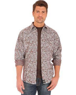Wrangler Rock 47 Men's Paisley Print Long Sleeve Snap Shirt, Brown, hi-res
