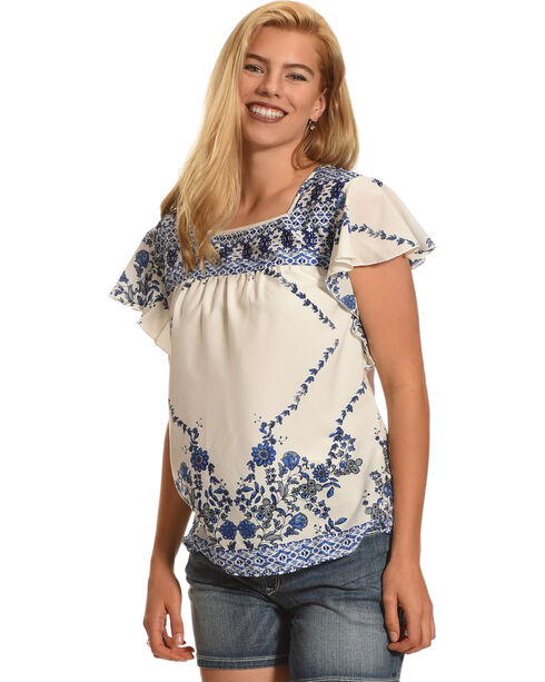 Katie's Kloset Women's Ruffle Sleeve Print Top, Blue/white, hi-res