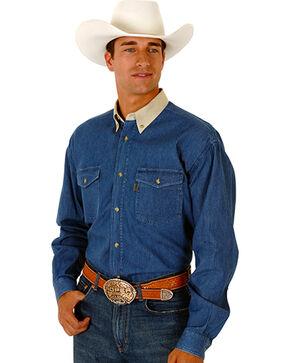 Roper Contrasting Collar Twill Western Shirt - Big and Tall, Denim, hi-res