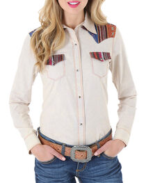 Wrangler Women's Tapestry Long Sleeve Snap Shirt, , hi-res