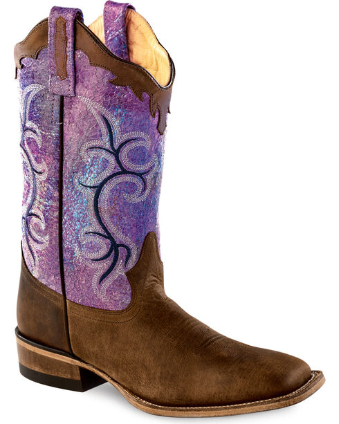 Old West Scalloped Colorful Cowgirl Boots - Square Toe, Brown, hi-res