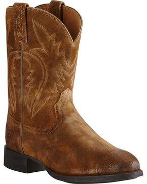 Ariat Men's Western Roper Suede Western Boots, Tan, hi-res