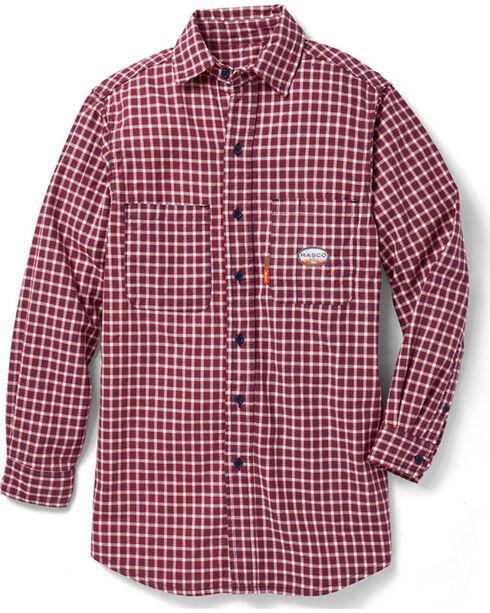 Rasco Men's Flame Resistance Long Sleeve Plaid Dress Shirt, Red, hi-res