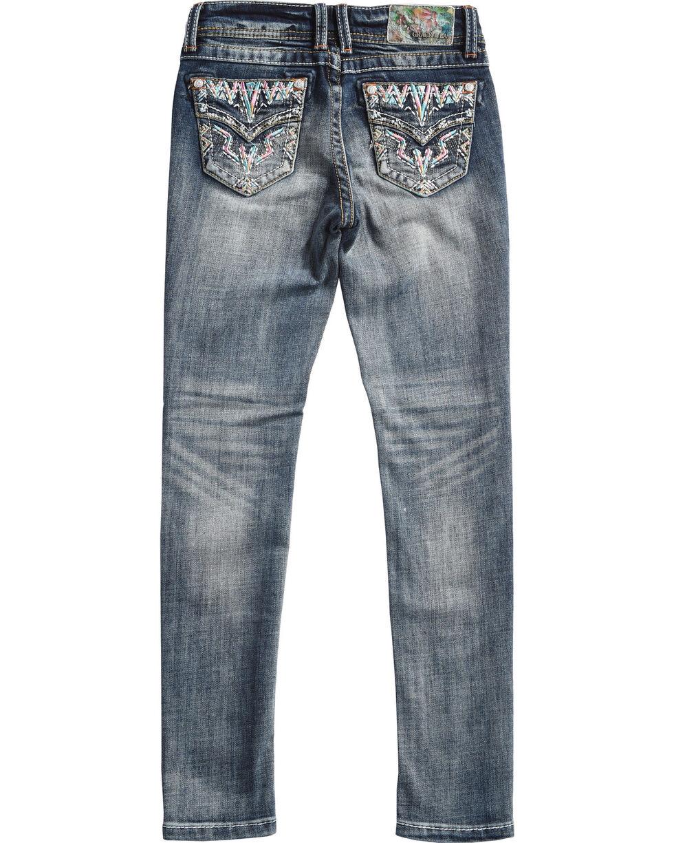 Grace in LA Girls' (7-16) Nellie Embroidered Pocket Jeans - Skinny  , Indigo, hi-res