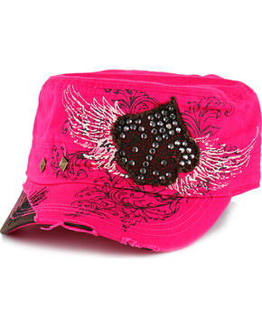 Savana Women's Studs and Rhinestones Military Hat, Hot Pink, hi-res