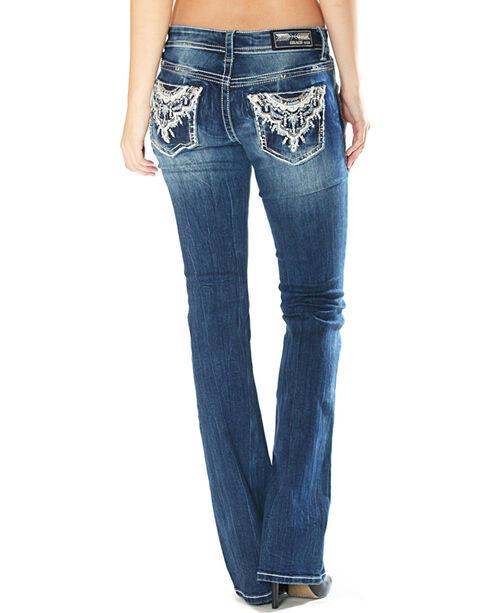 Grace in La Women's Embellished Pocket Jeans - Boot Cut , Indigo, hi-res