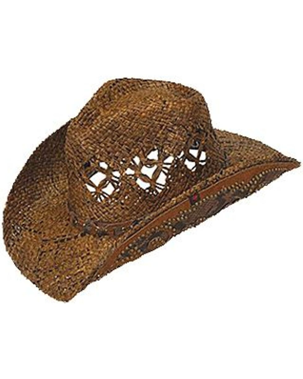Peter Grimm Jarales Faux Snakeskin Hat Band Straw Cowgirl Hat, Brown, hi-res