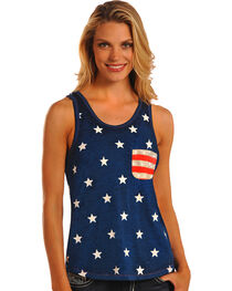 Rock & Roll Cowgirl Stars and Stripes Knit Tank Top, , hi-res