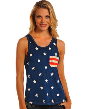 Rock & Roll Cowgirl Stars and Stripes Knit Tank Top, Navy, hi-res