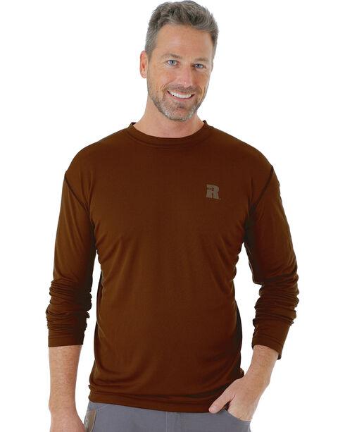 Wrangler Men's Riggs Crew Performance Long Sleeve T-Shirt, Brown, hi-res
