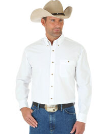 Wrangler George Strait Men's White Long Sleeve Shirt - Tall, , hi-res