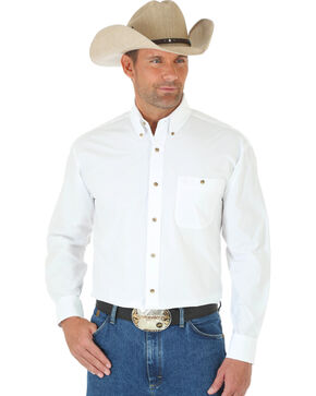 Wrangler George Strait Men's White Long Sleeve Shirt - Tall, White, hi-res