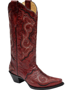 Corral Women's Embroidered Western Boots, Red, hi-res