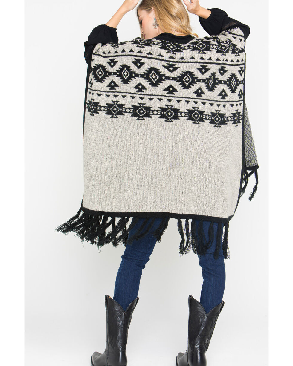 Shyanne Women's Road Trip Aztec Poncho with Pockets, Black, hi-res