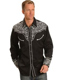 Scully Men's Embroidered Scroll Long Sleeve Western Shirt, , hi-res