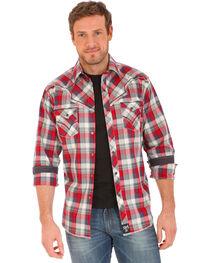 Wrangler Rock 47 Men's Plaid Two Pocket Long Sleeve Snap Shirt, , hi-res