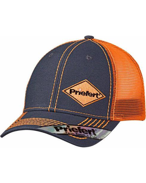 Priefert Men's Grey Contrasting Diamond Logo Baseball Cap, Orange, hi-res